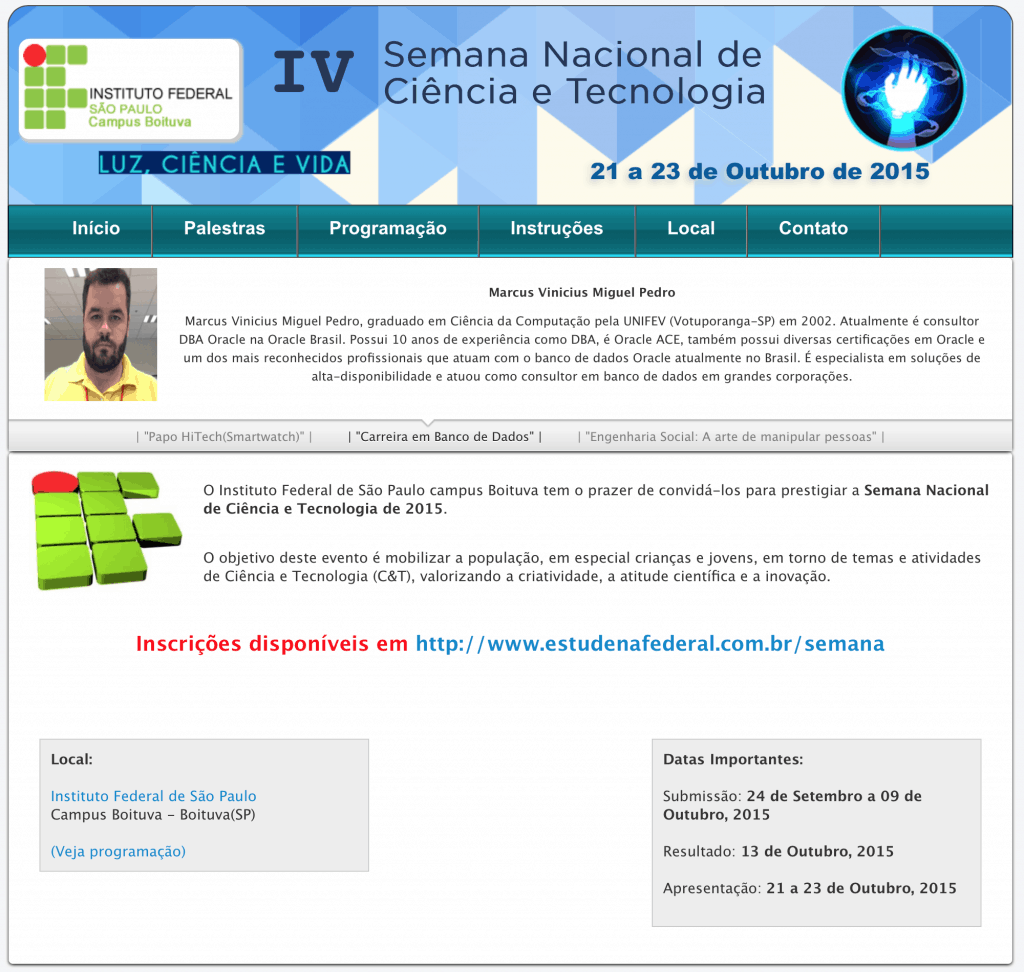 IV Semana Nacional de Ciência e Tecnologia